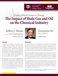 Lecture Flyer for Distinguished Lecture in Energy by Jeffrey J. Siirola