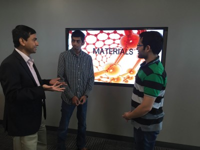 (L-R) Faruque Hasan; Shachit Iyer, a Ph.D. student in Hasan's group; Ishan Bajaj, a Ph.D. student in Hasan's group.