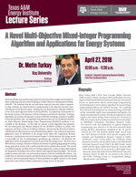 Energy Institute Lecture Series: Dr. Metin Turkay