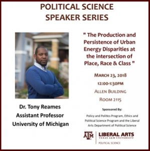Political Science Speaker Series: Dr. Tony Reames