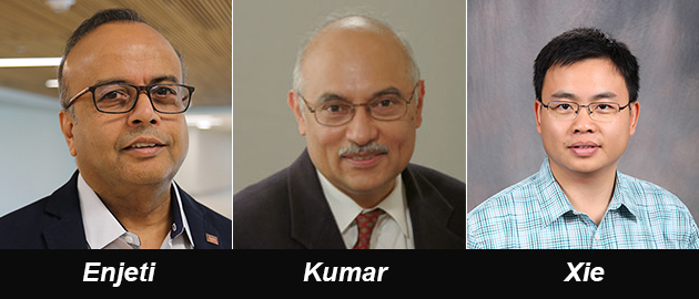 Dr. Prasad Enjeti, Dr. P.R. Kumar and Dr. Le Xie | Image: Texas A&M Engineering
